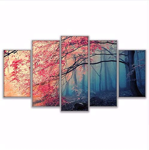 Cherry Poster Panel - HHXX9 Poster Hd Prints Modern Wall Art Canvas for Living Room 5 Pieces Cherry Blossoms Pictures Decor Red Trees Forest Painting 30X50 30X70 30X80Cm No Frame