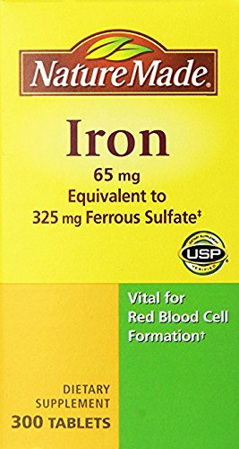 Nature Made Iron 65mg, Equivalent to 325 mg Ferrous Sulfate - 300 Tablets (Iron Tablets)