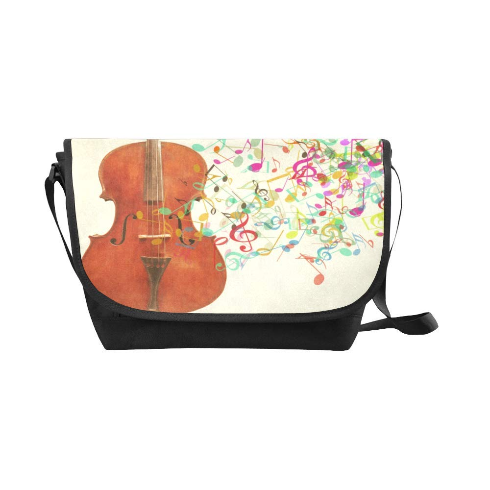 Black InterestPrint Music Notes Mens Womens Messenger Bag Crossbody Shoulder Bags for School Traveling