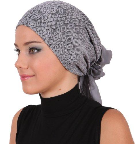 Brocade Headwear with Georgette Bow Tie (Grey) (Poly Brocade)