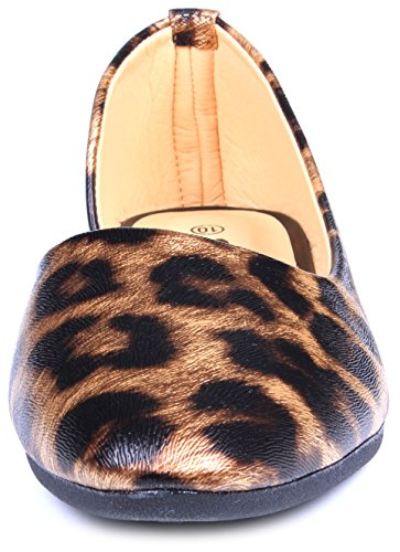 Enimay Womens Classic Casual Trendy Slip On Ballet Flat Fashion Dress Shoe Brown Leopard GJbcJnda