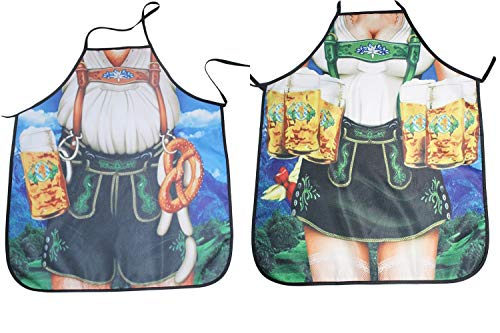 Santwo Sexy Men Women Adjustable Funny Kitchen Cooking Baking Grilling Aprons 2Pack (F) ()