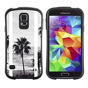 """Hypernova Slim Fit Dual Barniz Protector Caso Case Funda Para Samsung Galaxy S5 [Árboles Negro Playa Blanca fotos""""]"""