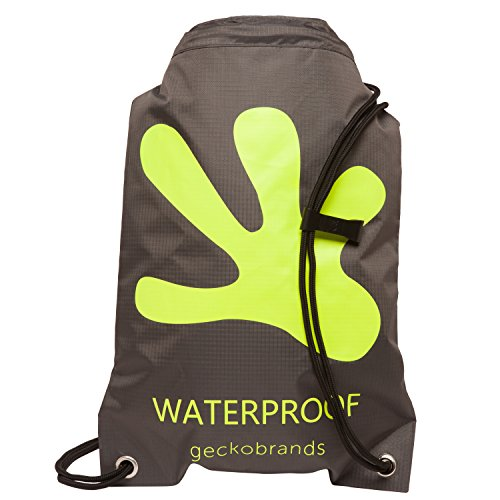 geckobrands Waterproof Drawstring Backpack Grey/Bright Green For Sale