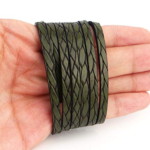 Laliva 5MM Flat PU Leather Cord Braid Pattern Rope Jewelry Findings Accessories Fashion Jewelry Making Bracelet Materials - (Color: Dark Green)