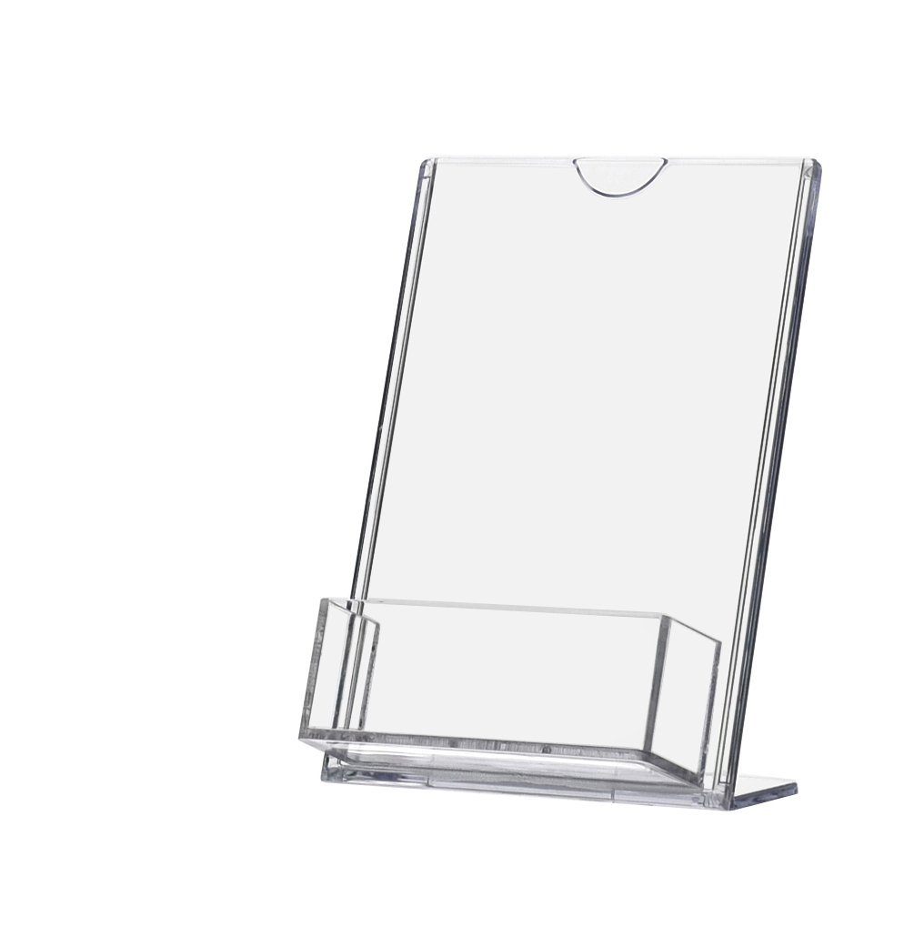 Marketing Holders 4''W x 6''H TRU-Vu Slant Back Sign Holder with Business Card Pocket for Business, Store, Medical Office, Gym (Lot of 24)