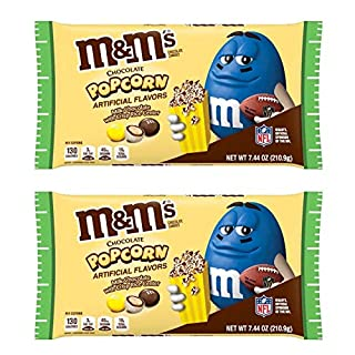 M&M'S Milk Chocolate Popcorn Candy 7.44oz! Milk Chocolate With Crisp Rice Center! Crispy Chocolate Popcorn Flavored Candies! Delicious Crunchy Chocolate Candy! Choose Your Pack! (2 Pack)