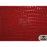 Vinyl Crocodile RED Fake Leather Upholstery Fabric By the Yard