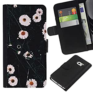 KingStore / Leather Etui en cuir / Samsung Galaxy S6 EDGE / Flores blancas naturaleza Campo;