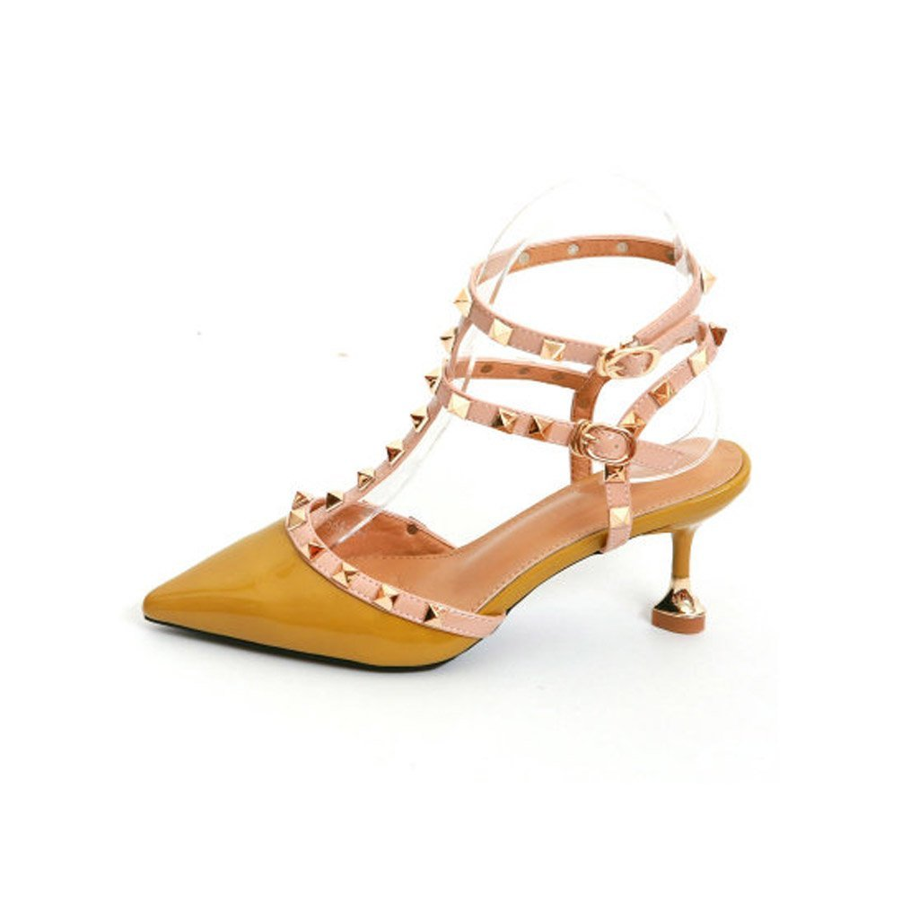 JIANXIN Frauen High Heel Und Fein Und Lackleder Bonbonfarbenen Sandalen Mit Nieten Und T-Typ Verschluss Sexy Wrap. (Farbe   Gelb, größe   EU 38 US 7 UK 5 JP 24.5cm)