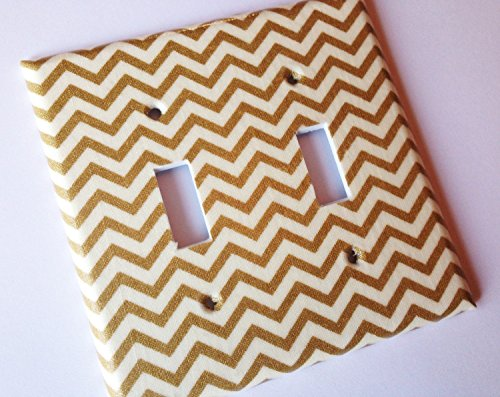 Beige Switchplate - Metallic Gold Chevron Stripes Light Switch Plate Cover - Various Sizes Light Switchplates Offered