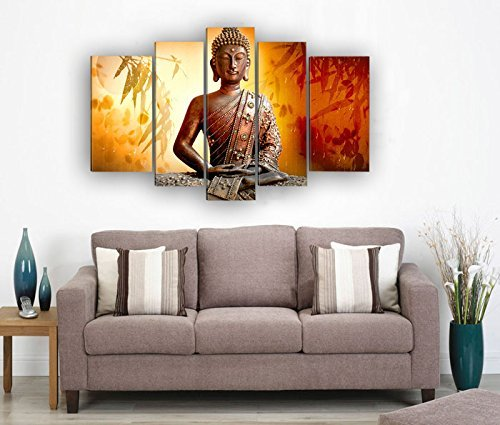 Framed 5 Panel Wall Art Religion Buddha .  sc 1 st  Buddhism Gifts & Framed 5 Panel Wall Art Religion Buddha Huge Size Oil Painting On ...