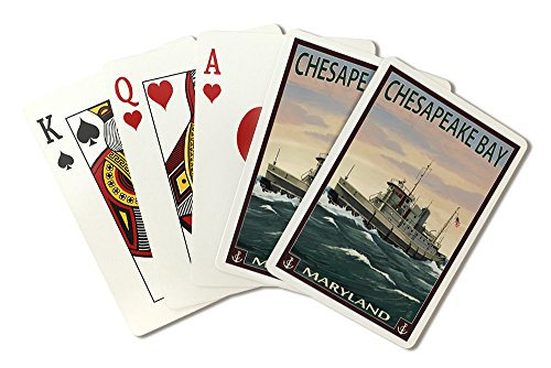 Chesapeake Bay, Maryland - Tugboat Scene (Playing Card Deck - 52 Card Poker Size with Jokers)