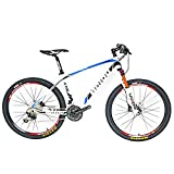BEIOU Carbon Fiber Mountain Bike Hardtail MTB Shimano M610 DEORE 30 Speed Ultralight 10.65 kg RT 26 Professional Internal Cable Routing Toray T800 Glossy CB018 (White Blue, 17-Inch)