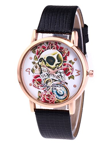 Women Skull Watches COOKI Clearance Ladies Watches Unique Death's Head Female Watches on Sale Cheap Leather Wrist Watch New-A154 (black)