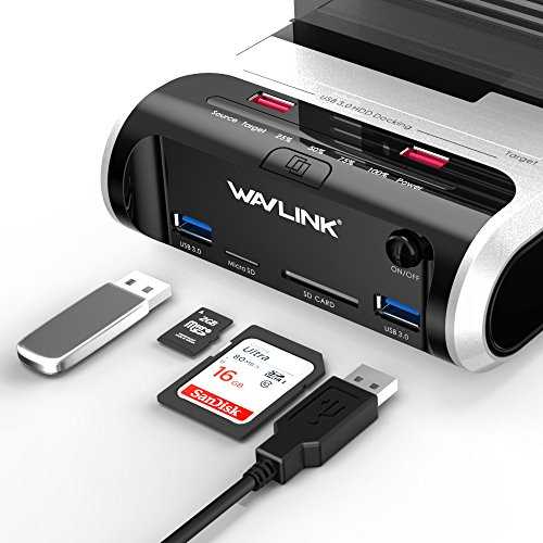 """WAVLINK USB 3.0 to SATA Dual Bay Hard Drive Docking Station with Offline Clone Function for 2.5""""/3.5"""" SATA HDD SSD, Support Fast Charger and TF & SD Card (2X 10TB) by WAVLINK (Image #3)"""