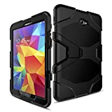 Galaxy Tab A 10.1 Case(T580/T585/T587) Not S Pen(P580),Slim Heavy Duty Shockproof Rugged Case High Impact Resistant Defender Full Body Protective Cover with Screen Protector Black