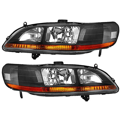 For 98 99 00 01 02 Honda Accord 2-Door / 4-Door Headlight Assembly Replacement, Black Housing Amber Reflector