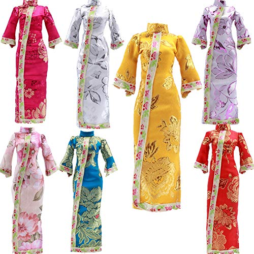 """Fully Set 7 Colors Chinese Qing Style Chi-Pao Dress Skirt Elegant Costume for 29cm/11.41"""" Puppen -  ty-030"""