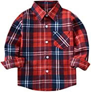Kehen Kids Little Boys Girls Long Sleeve Button Down Plaid Flannel Shirt Blouse Tops with Pocket