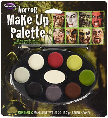 Fun World Unisex-Adult's Horror Makeup Palette with 8 Colours, Multi, -