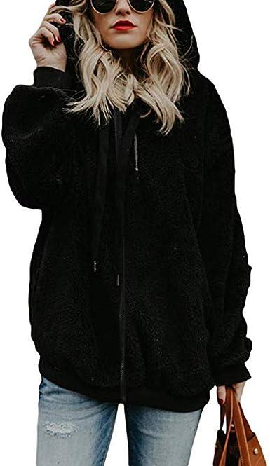 Winter Casual Fashion Fuzzy Sherpa Cardigan Hooded Fur Jackets for Women Black L