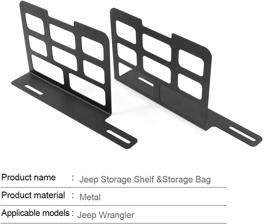 RT-TCZ Trunk Interior Metal Rack Storage Shelves Camping Mat Tool Kit Storage for Jeep Wrangler JK JKU JL TJ YJ 1955-2018 Unlimited