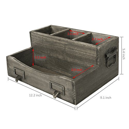 Barnwood Brown Desktop Magazine & Office Supplies Organizer with Metal Drawer-Pull Labels & Side Handles by MyGift (Image #4)