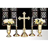 5 Piece Filigree Brass Altar Set - Includes 23'' High Cross - Pair of Candle Holders & Pair of Vases