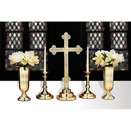 5 Piece Filigree Brass Altar Set - Includes 23'' High Cross - Pair of Candle Holders & Pair of Vases by Christian Brands