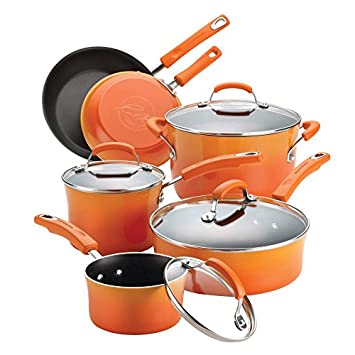 Rachael Ray Classic Brights Hard Enamel Nonstick 10-Piece Cookware Set, Orange