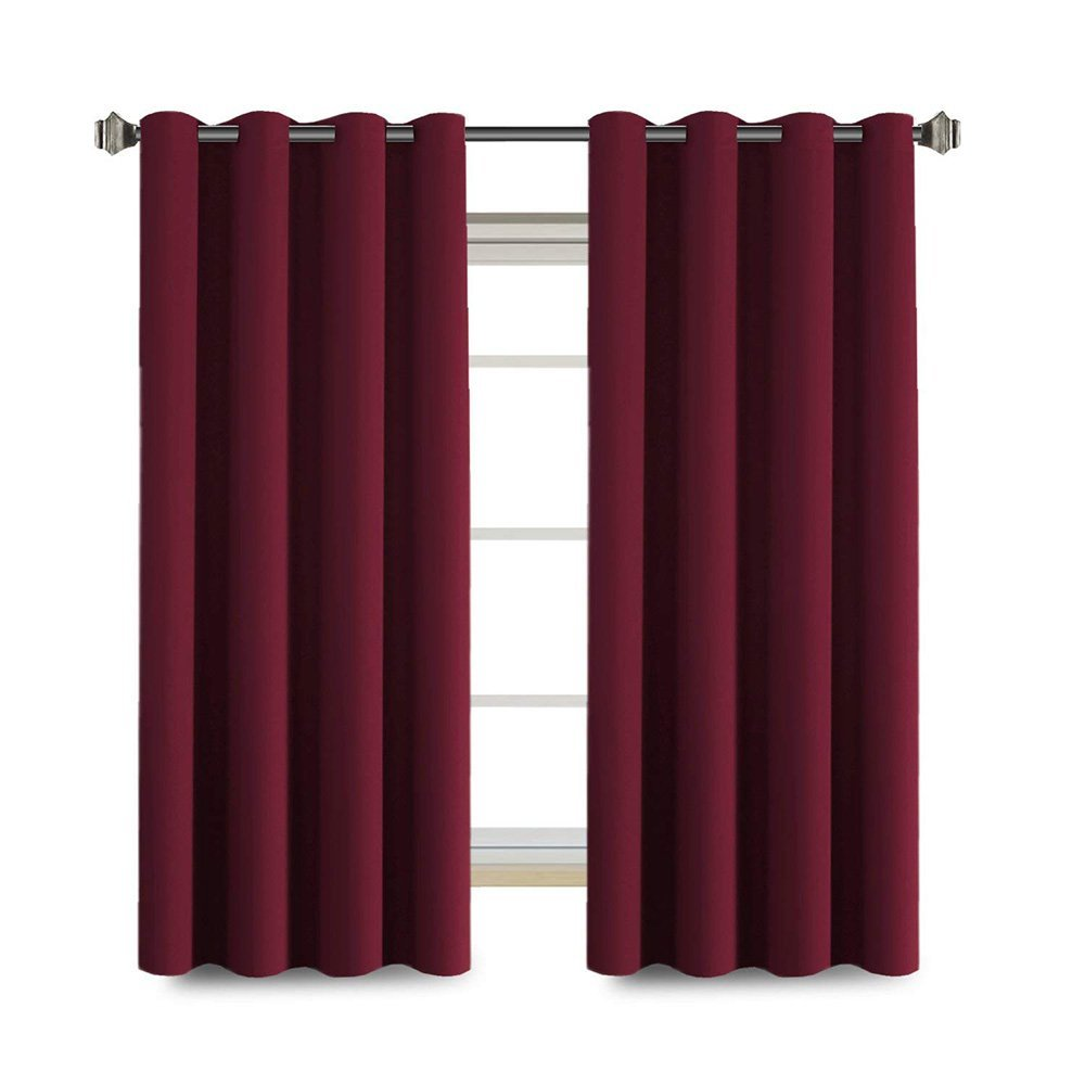 Anjee Small Window Curtain Panels by (2 Pcs, W52 X L45 Inches), Grommet Blackout Curtains for Kitchen, Kids Room and Dining Room, Burgundy Red