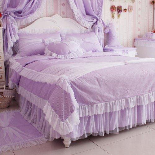 DIAIDI Home Textile,Princess Lace Ruffle Duvet Cover Bedding Set,Elegant Pink Purple Bedding,Twin/Full/Queen/King,3/4Pcs Bedroom Sets (Purple, 4ft bed)