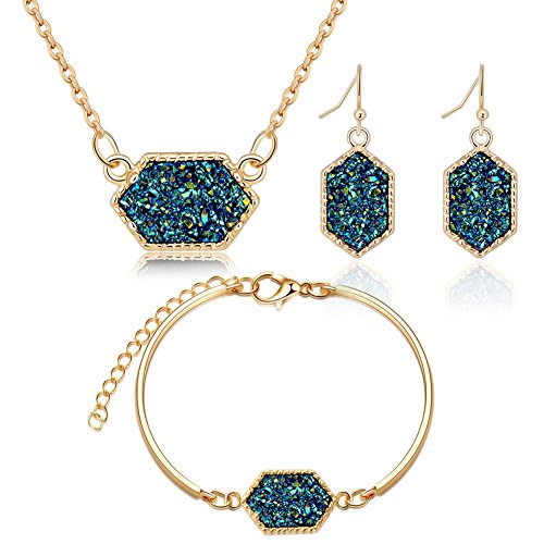 ISAACSONG.DESIGN Gold Tone Colorful Faux Healing Statement Druzy Stone Necklace, Bangle Bracelet, Dangle Drop Earring Jewelry Set for Women (Gold Green ()