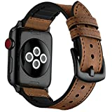 Mifa Hybrid Leather Sports band for Apple Watch vintage Bands Dark Brown Replacement straps Sweatproof classic dress iwatch series 1 2 3 nike space black grey 42mm brown men women HB (42mm - Brown)