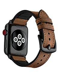 Mifa Hybrid Sports Band Dark Brown for Apple Watch Vintage Leather Bands Replacement Straps Sweatproof Classic Dress iwatch Series 1 2 3 Nike Space Black Grey Gray Men Women HB (42mm - Brown)