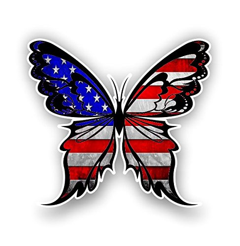 Vinyl Junkie Graphics Monarch Butterfly Sticker 14 Custom Color Patterns (American Flag) ()