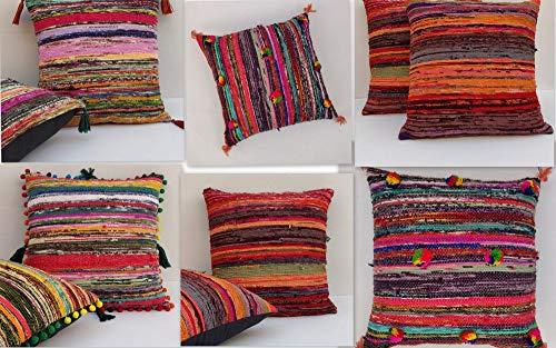 Handicraftofpinkcity 10 Piece Lot multi color rug cushion cover handmade pillow case soft mix cotton
