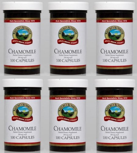 Naturessunshine Chamomile Nervous System Support Herbal Dietary Supplement 250 mg 100 Capsules (Pack of 6)