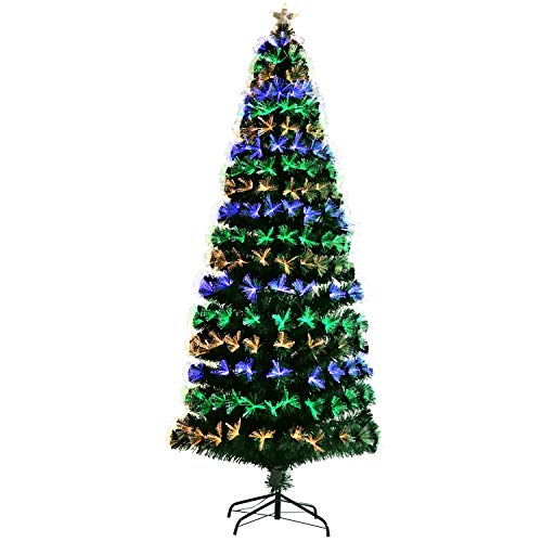 CCINEE 7 Feet Artificial Christmas Tree Pre-Lit Optical Fiber Tree 6 Flash Modes W/UL Certified Multicolored LED Lights and Metal Stand