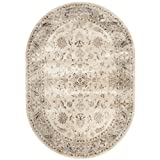 Safavieh VTG168-3410-5OV Vintage Collection Stone and Mouse Oval Area Rug, 5-Feet 3-Inch by 7-Feet 6-Inch Oval