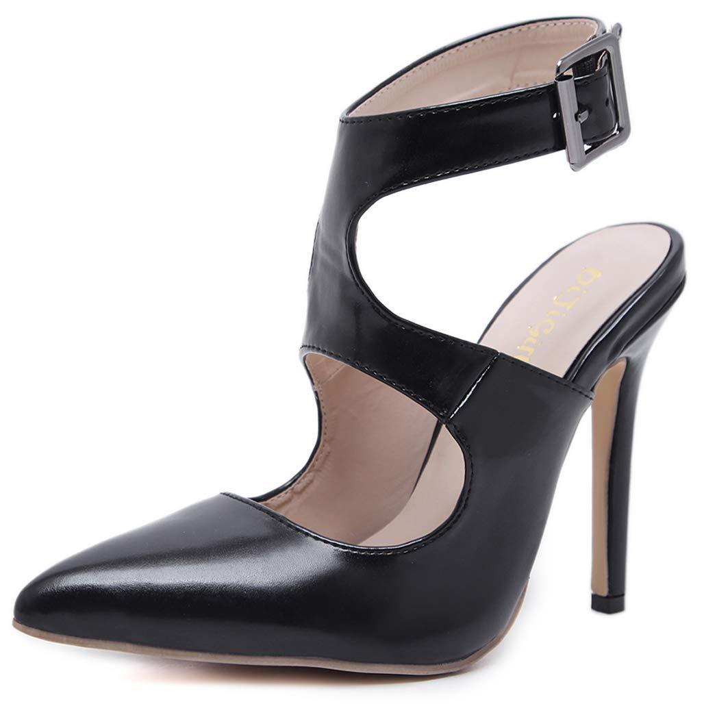 GoldGOD Damen Damen Damen High Heel Spitze Hohle Schnalle Sandalen,schwarz,39 d27f13