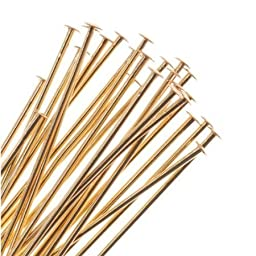 BeadSmith Head Pins Gold Plated 1\