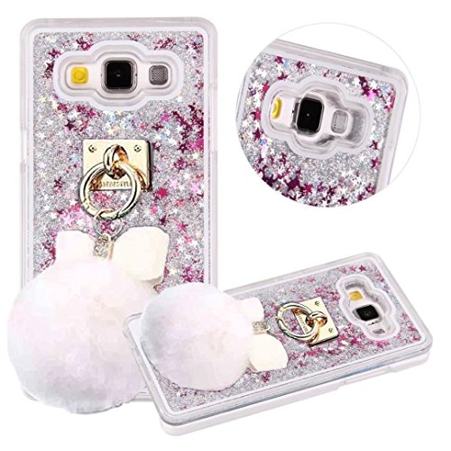 Galaxy Note 5 Case, QKKE Lovely Bowknot Fluffy Plush Ball Dynamic Flowing Liquid Glitter Love Heart Plastic Case for Samsung Galaxy Note 5 ()