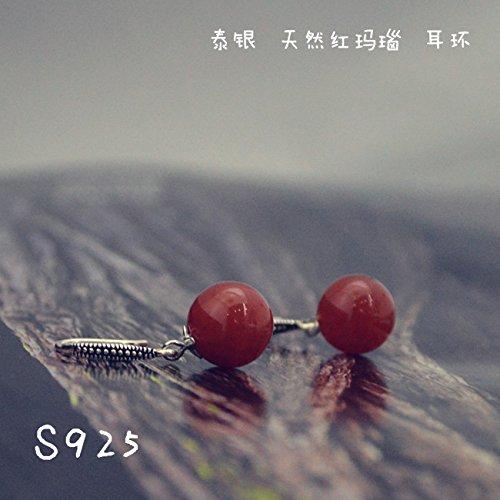 TKHNE 925 sterling silver Thai silver retro national wind Red Agate women girls hypoallergenic earrings Black snow gift ()