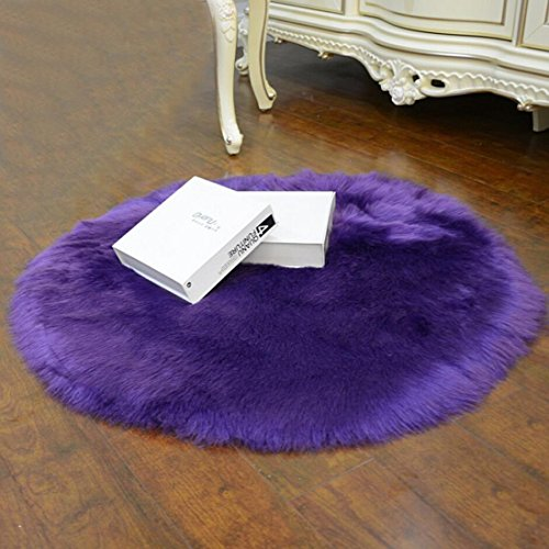 Fabal Soft Artificial Sheepskin Rug Chair Cover Artificial Wool Warm Hairy Carpet Seat (Purple 30X30CM)