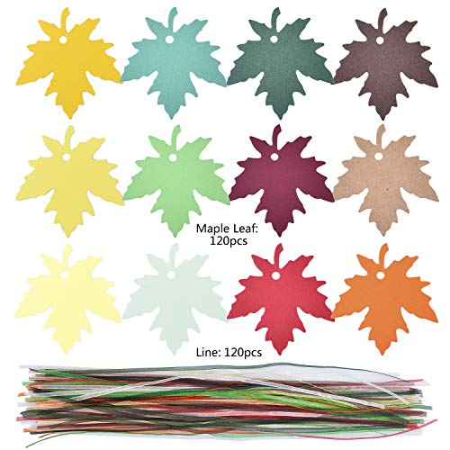 Antiniska 120 Pcs 12 Colors Maple Leaves Gift Tags Sign with Strings Wishing Tree Tags with Ribbons Favor Paper Tags Fall Favors Tags Leaves Paper Tag for Autumn Thanksgiving Wedding Craft Presents ()