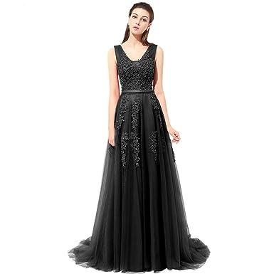 Aiyana Damen A-Linie Tüll Ruckenfrei Schnüerung Ballkleider Party kleid  Langes Spitze Abendkleid Brautjungfernkleid mit
