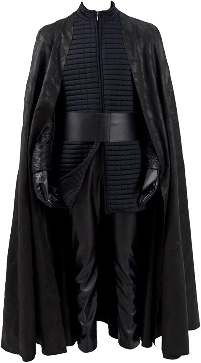 VOSTE Kylo Ren Cosplay Costume Halloween PU Outfits with Cloak for Men