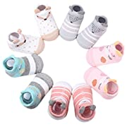 Dicry 5 Pairs Summer Baby Girls Non Skid Ankle Socks 3-18 Months Cute Animal